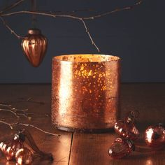 Antique copper glass candle holder A good sized glass copper vase, which would…