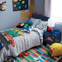 Inspiration Design Bedroom to Boys so that Looks Cool and Luxury Kids Bedroom Designs, Boys Bedroom Decor, Little Boy Bedroom Ideas, Farm Bedroom, Design Bedroom, Boy Room, Kids Room, Sports Bedding, Bedroom Carpet