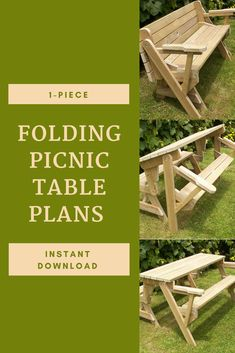 I love this one-piece picnic table/bench combo! Fold Up Picnic Table, Garden Picnic Bench, Folding Picnic Table Plans, Outdoor Picnic Tables, Diy Bench, Bench Plans, Diy Wood Projects, Pictures To Draw, Outdoor Living