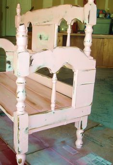 Loving the concept of repurposing an old piece of furniture and making it into absolute awesomeness! Turn an old bed frame into a bench! Add some pink paint Headboard Benches, Headboard And Footboard, Headboards For Beds, Bed Bench, Headboard Ideas, Repurposed Furniture, Painted Furniture, Home Furniture, Furniture Refinishing