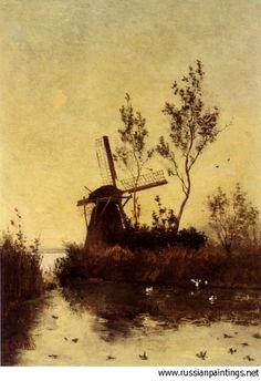 Gabriel Paul Joseph Constantine - 'A Windmill at Dusk'