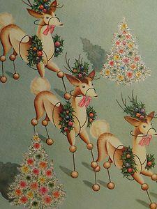 Reindeer Vintage Christmas Card