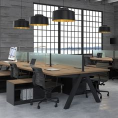 Office Inspiration - i like the sort of glass partition and the lamps hanging down as opposed to florecent ceiling light