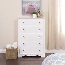 Tall 5 Drawer Chest Clothes Lingerie Storage Full Size Bedroom Dresser White