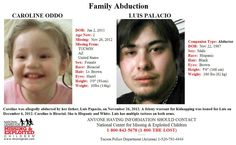 2/1/2013: $1,000.00 REWARD: Please share to locate Caroline Oddo (1) kidnapped from TUCSON, ARIZONA... pinned with Pinvolve