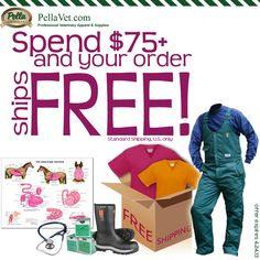 F R E E Shipping on orders of $75+ at PellaVet.com  --  Vet bibs, overalls, scrub tops and pants, boots, etc.
