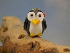 Pearl lampwork penguin bead sra by DeniseAnnette on Etsy, $12.00