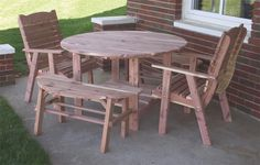 Gather together at the Cedar Round Picnic Table Set from DutchCrafters for outdoor fun. This Amish outdoor furniture comes with you choice of chairs or bench se Round Picnic Table, Outdoor Picnic Tables, Outdoor Table Settings, A Table, Outdoor Decor, Patio Table, Outdoor Lounge, Amish Furniture, Solid Wood Furniture