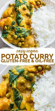 This easy vegan potato curry is perfect for a comforting weeknight dinner that's ready in less than 30 minutes. Made with soft potatoes flavourful tomatoes and a rich sauce this is delicious served over a bed of rice. Gluten-free and oil-free. Vegan Dinner Recipes, Vegan Dinners, Indian Food Recipes, Whole Food Recipes, Healthy Recipes, Dinner Healthy, Gluten Free Vegetarian Recipes, Vegan Recipes With Rice, Easy Vegan Food