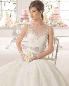 Azahar vestido de novia tejido encaje y pedreria y tul