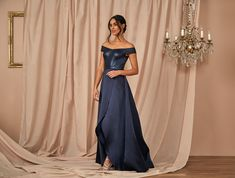 #Satin Off-the-Shoulder #Gown