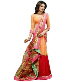 Multicolor Tissue and Georgette Half and Half Saree Indian Look, Work Sarees, Half Saree, Sarees Online, Designer Wear, Trendy Outfits, Sari, Formal Dresses, Orange Red