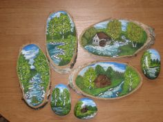 Pictures painted on wood slice from tree!