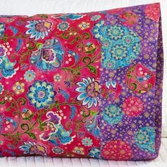 Fabric: Bollywood Bliss by Jane Spolar for Northcott Fabrics. Pillowcase Pattern 25. Free download here: http://www.allpeoplequilt.com/millionpillowcases/freepatterns/index.html