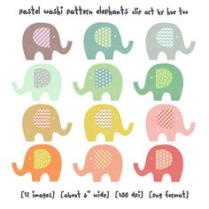elephant clip art, baby elephant clipart, pastel washi tape pattern polka dot chevron gingham heart, cute images invitations baby shower 025