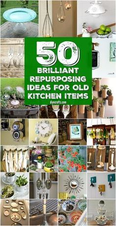 50 Brilliant Repurposing Ideas To Turn Old Kitchen Items Into Exciting New Things - You can turn old kitchen items into some great DIY home decor and functional household items! Get some great ideas for recycling and repurposing your old kitchen items! Upcycled Crafts, Recycled Decor, Upcycled Vintage, Diy Upcycling, Reuse Recycle, Repurposing, Old Kitchen, Kitchen Items, Kitchen Utensils