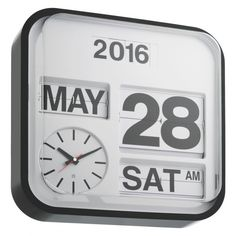FLAP White large analogue year wall clock