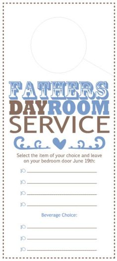 Father's Day Room Service - Door Tag