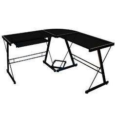 #7: Walker Edison Soreno 3-Piece Corner Desk, Black with Black Glass