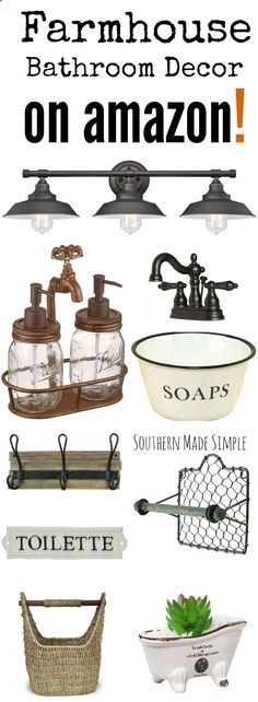 The BEST collection of Farmhouse style decor to spruce up your bathroom, and its all available on Amazon! Hello, 2 day shipping!