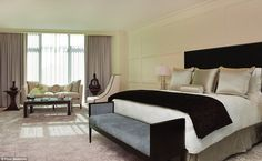 The $18,500-a-night royal suite has bullet-resistant glass, a private entrance and a furni...