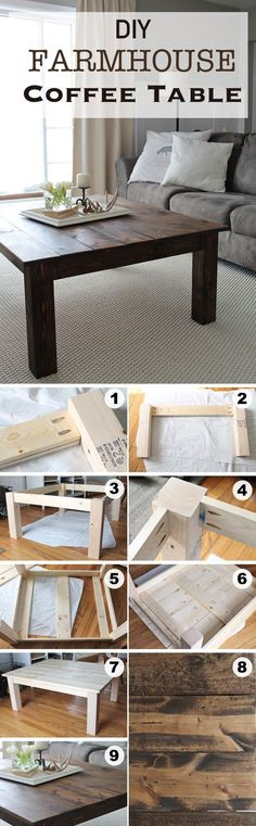 DIY Farmhouse Coffee Table / Tis table is built to last, has the potential to be personalized with stain and paint, and is large enough to fit wonderful centerpiece displays.