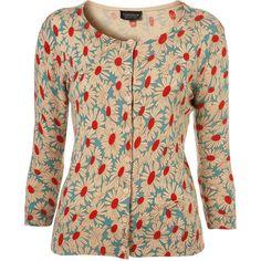 Knitted Oatmeal Daisy Print Cardigan