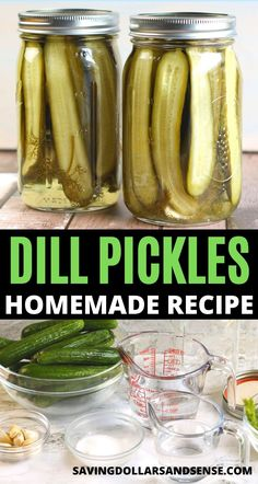 Dill Pickles Homemade Recipe | Use this easy dill pickle recipe to start canning your own crunchy dill pickles at home to fill your pantry. Making Dill Pickles, Kosher Dill Pickles, How To Make Pickles, Homemade Pickles, Canning Pickles, Crunchy Dill Pickle Recipe, Dill Pickle Brine Recipe, Home Made Pickles Recipe, Homemade Hummingbird Food