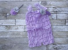Lavender Embelished Lace Romper & Headband Set- First Birthday Outfit- Petti Romper- Cake Smash Outfit- Newborn Petti Romper- Headband by MySweetPeaCouture on Etsy https://www.etsy.com/listing/532135671/lavender-embelished-lace-romper-headband