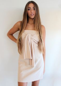Cute Nude Strapless DressTies at FrontZips at BackSimple But Polyester Cold Hand WashThis look would look super fab matched with a Shine Necklace Coast Fashion, Brunch Dress, Sunshine Coast, Boutiques, The Hamptons, Strapless Dress, Summer Dresses, Strapless Gown, Summer Sundresses