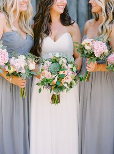 Love the classic and chic color palette of this wedding. Grey bridesmaid dresses paired with pink, white and green bouquets add a simple yet rustic touch to the wedding.