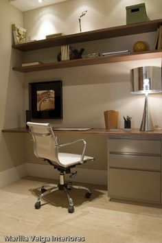 Foto home office do apartamento modelo dacorado Premier Ceramicas. #homeoffice #office