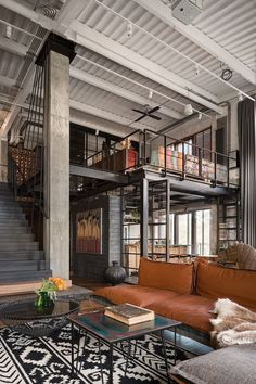 Industrial Interior Design, Industrial House, Industrial Interiors, Industrial Loft Apartment, Loft Interior Design, Loft Design, Home Interior, Studio Interior, Design Design
