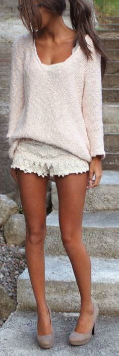 You normally expect to wear lace shorts with something summery, so pairing them with a sweater is a little more interesting.