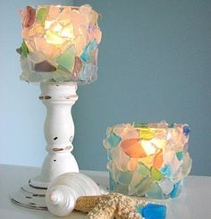 Great idea for all the sea glass I've collected over the years. I could totally make one of these myself