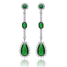 Find More Drop Earrings Information about Vintage Long Liner 3 Tiered Created Emerald Pear Drop Earrings Silver Tone Micro Pave CZ Round Hinged Post Teardrop Earrings ,High Quality earrings fruit,China earring stud Suppliers, Cheap earring hoop from Dreamland Dresses & Accessories on Aliexpress.com