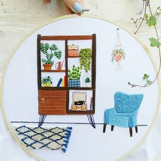 Really love what I got on @Etsy from Needlenthreaduk. #etsystar https://www.etsy.com/transaction/1266099655/buyer-photo Mid Century Modern Scene Hand Embroidered Hoop Art | Embroidery Design, Wall Hanging, Botanical Wall Art, Botanical Embroidery