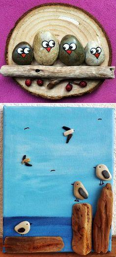 MENTŐÖTLET - kreáció, újrahasznosítás: Egyszerű kavicsképek gyerekszobába Crafts For Kids, Diy Crafts, Minion, Crafty, Stones, Gifts, Home Decor, Stone Crafts, Painted Owls