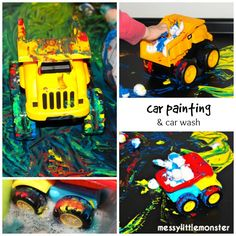 painting with toy cars process art for toddlers and preschoolers