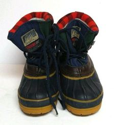 Itasca Jess Navy Buffalo Check Plaid Winter Boots Boys 1 Leather Duck Snow Shoes #ITASCA