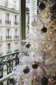 Black & White Christmas in Paris Window View^ Christmas In Paris, Merry Little Christmas, Noel Christmas, Winter Christmas, Winter Holidays, All Things Christmas, Classy Christmas, Holiday Fun, Festive