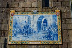 Portugal.  Ponte de Lima.   A tile painting showing King John IV, King of Portugal and Algarve in the 17th century, as he arrives in Ponte de Lima with his entourage. His daughter, Catherine of Braganza, married Charles II of England of England, and the pair is credited with introducing tea to the British court.