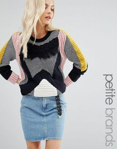 Glamorous Petite Contrast Knitted Jumper With Tassel Fringe Knitting Wool,  Knit Fashion, Cardigans For 2b5de056da1