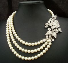 Bridal Pearl Necklace Bridal Rhinestone Necklace by DivineJewel, $115.00