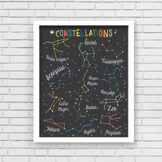 With an effortless modern style, Lucy Darling offers a high-quality constellations wall art print designed to help celebrate the darling moments of a baby's life. • Perfect Nursery Wall Decor!• Great baby shower gift!• Unique retro, modern, and whimsical design • Made in the USA• Printed using recycled materials• Eco-friendly soy based inks *Frame and accessories not included