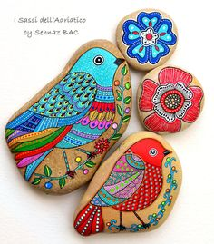 Hand Painted Stone Bird Beach Stone with hand-painted designs in acrylics © Sehnaz Bac 2015 I paint and draw all of my original designs by Dot Art Painting, Rock Painting Designs, Pebble Painting, Pebble Art, Stone Painting, Mandala Painting, Stone Crafts, Rock Crafts, Arts And Crafts