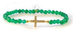 Lucky Eyes green jade beaded stretchy bracelet with 18ct yellow gold vermeil on sterling silver  cross