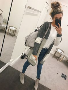 Love this grey block cardigan! It will be the perfect layer for fall