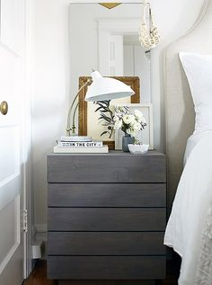 On her nightstand, a mix of feminine and crisp details reflects Caitlin's style. An ivory-tone necklace by Joanna Williams, which Caitlin has had forever, adds extra style to the mirror.