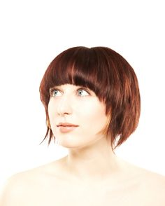Short Bob with Sweeping Sides - but with much shorter bangs?